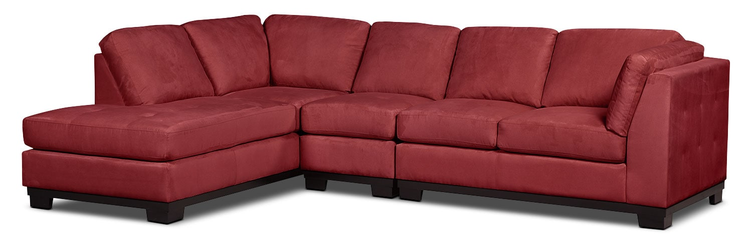 Living Room Furniture - Oakdale 3-Piece Microsuede Left-Facing Sectional – Red
