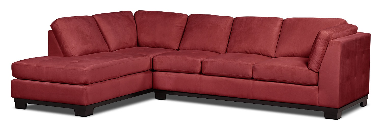Living Room Furniture - Oakdale 2-Piece Microsuede Left-Facing Sectional with Sofa Bed – Red