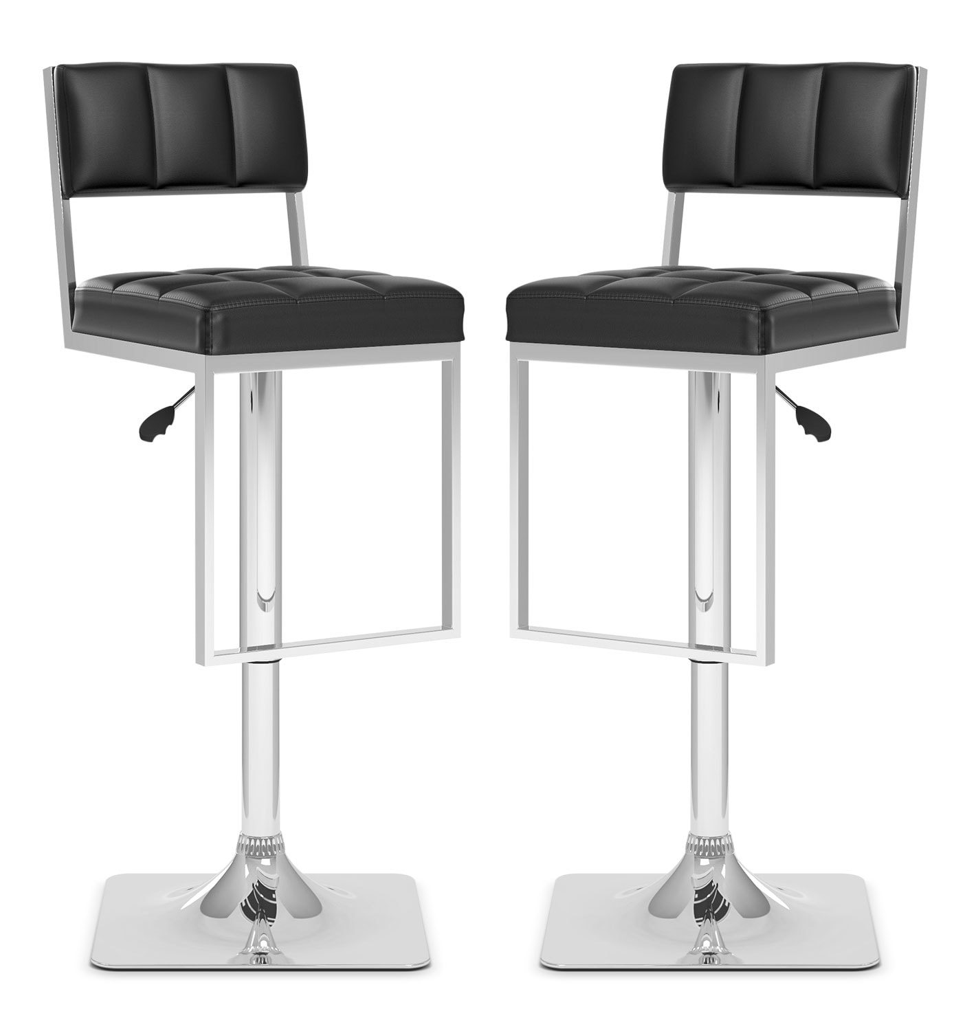 CorLiving Square-Tufted Wide Adjustable Bar Stool, Set of 2 – Black