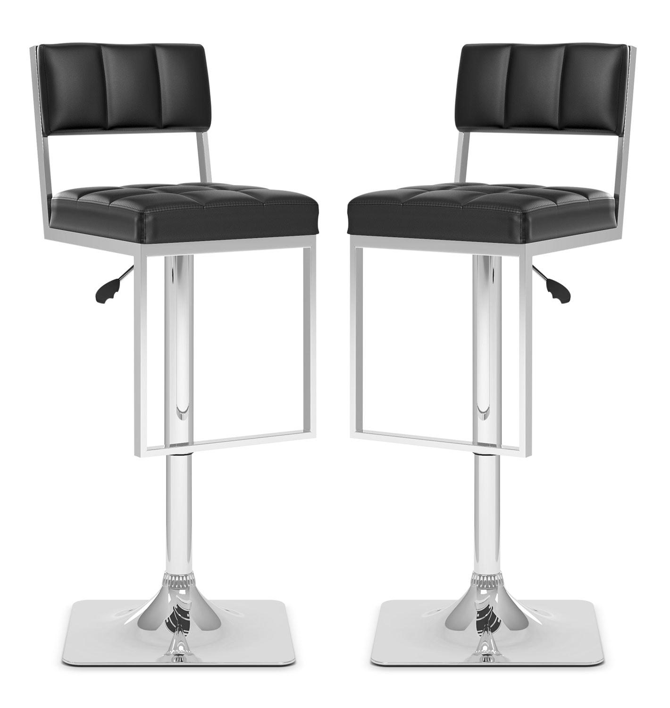 Dining Room Furniture - CorLiving Square-Tufted Wide Adjustable Bar Stool, Set of 2 – Black