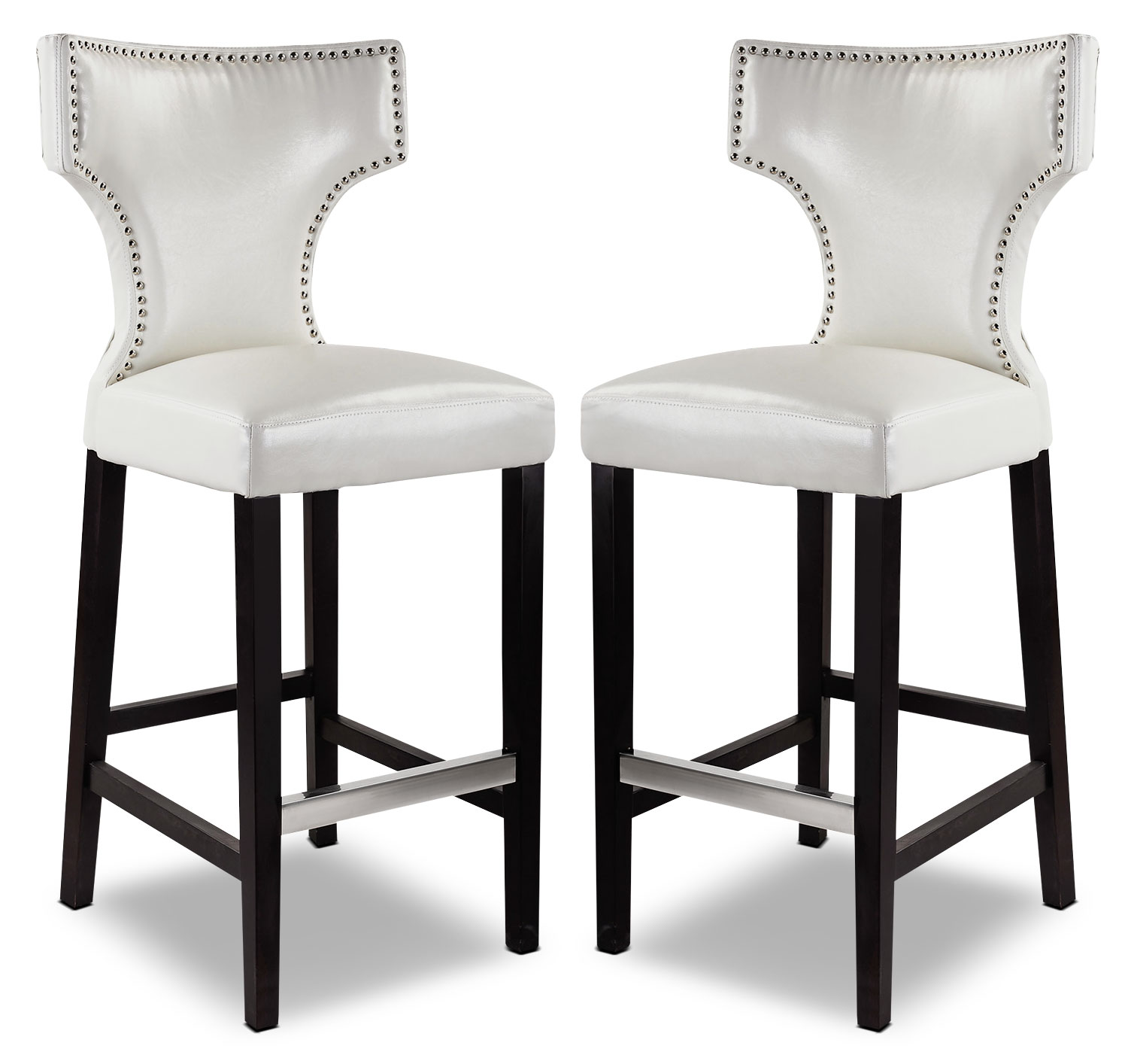 Kings Bar Stool with Metal Studs, Set of 2 – White