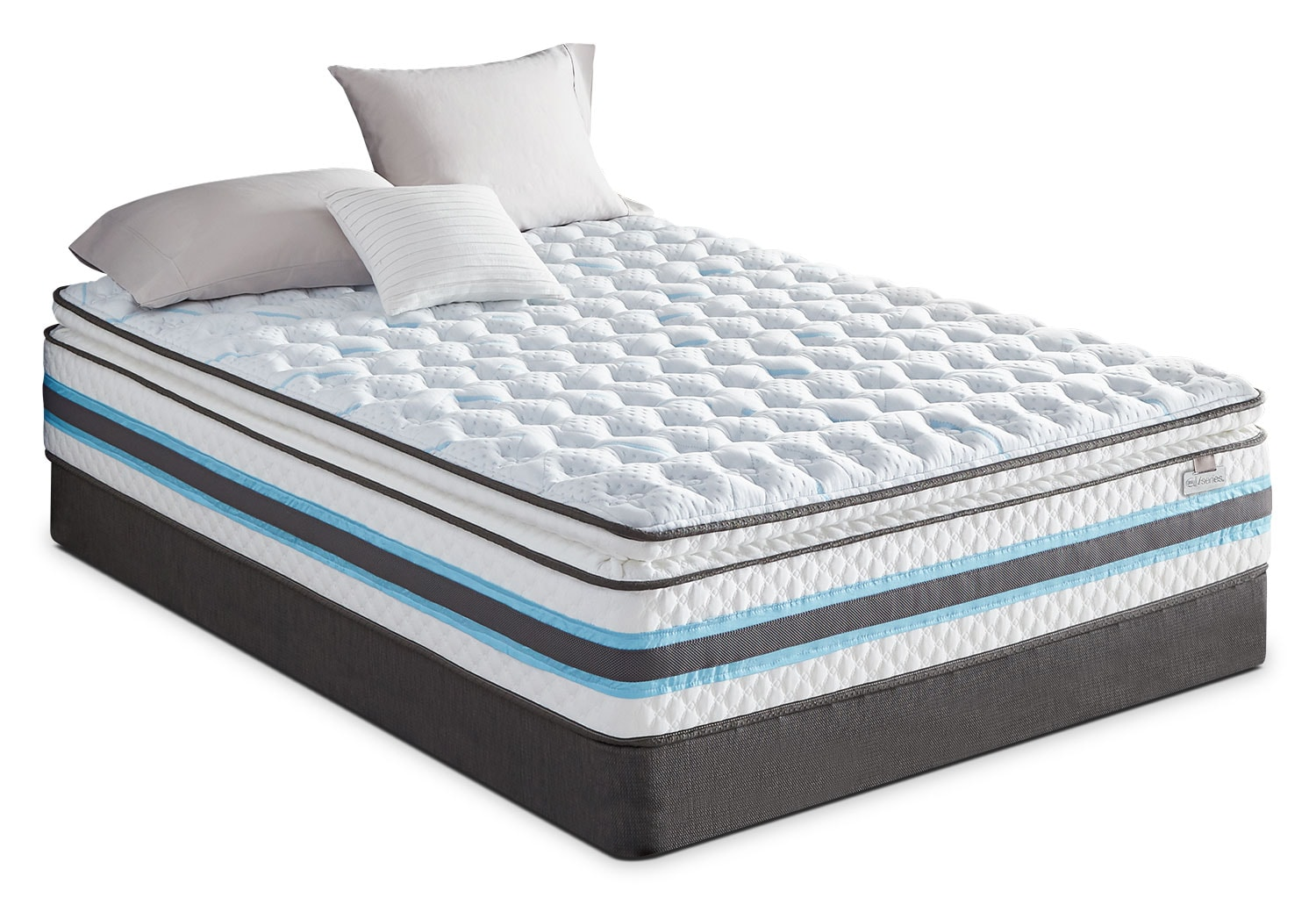Mattresses and Bedding - Serta iSeries® Breathtaking Pillow-Top Plush Low-Profile Split Queen Mattress Set