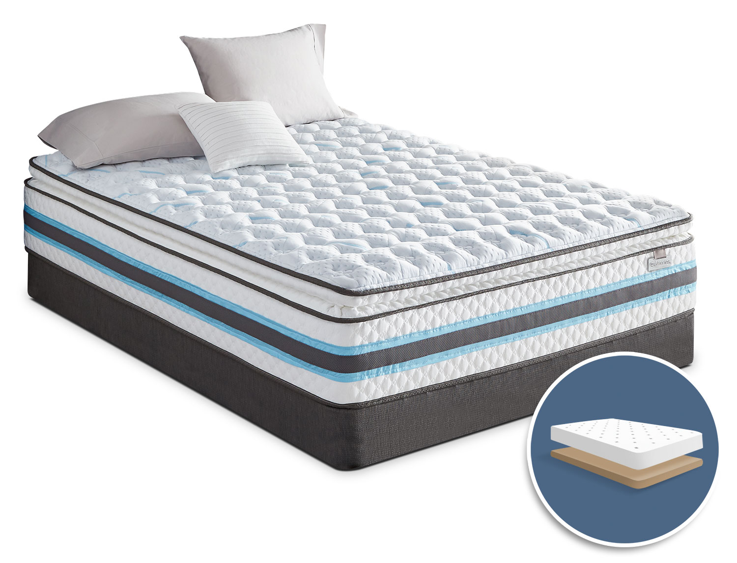Mattresses and Bedding - Serta iSeries® Breathtaking Pillow-Top Firm Low-Profile Queen Mattress Set