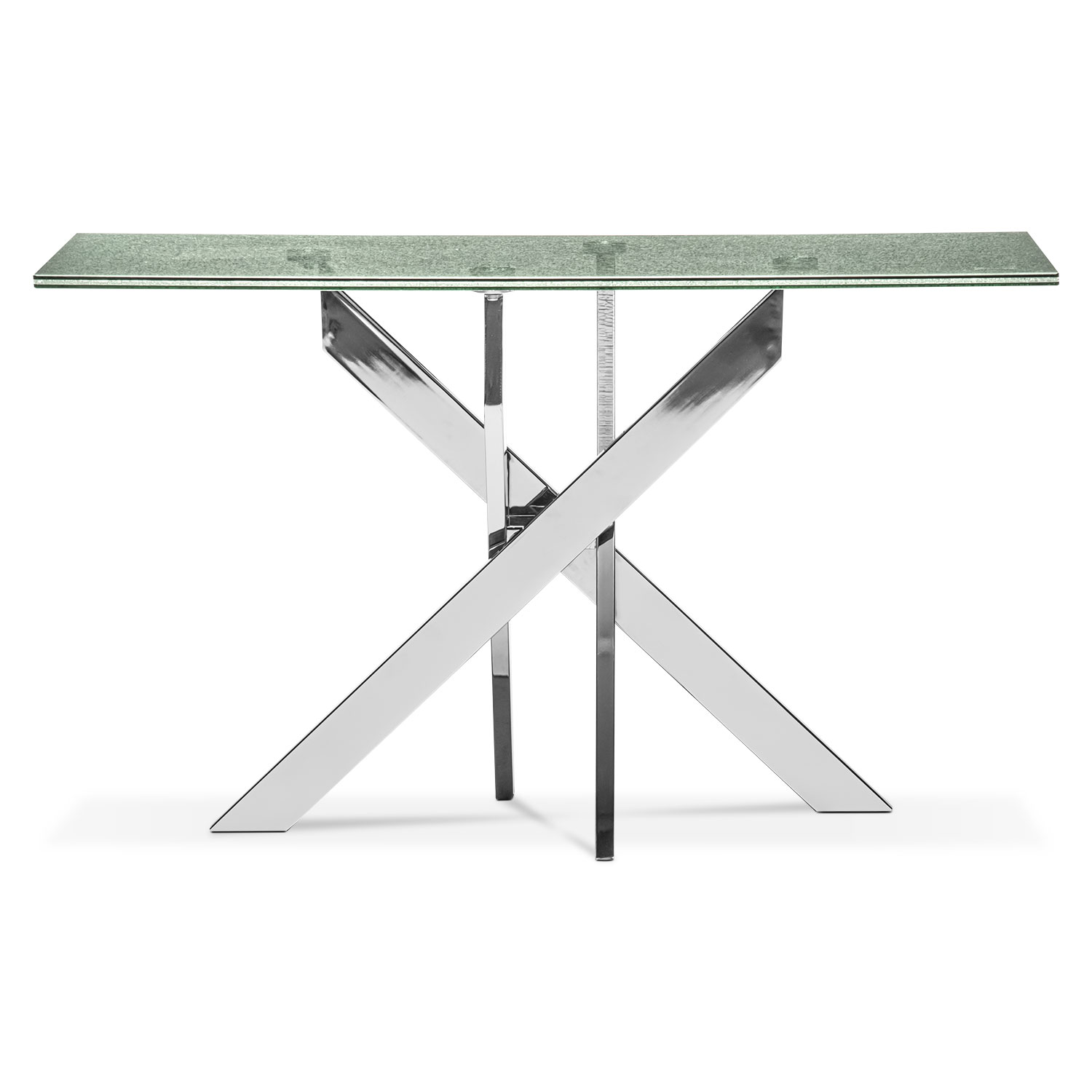 Celestial console table glass and chrome value city for Sofa table glass replacement