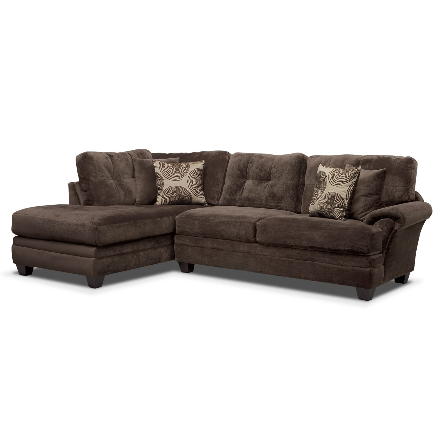 Cordelle 2 piece left facing chaise sectional chocolate for 2 piece chaise sectional