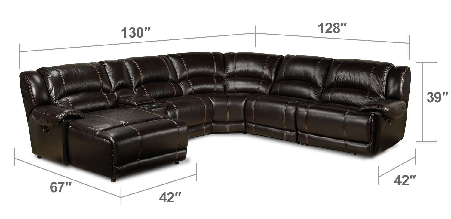 Living Room Furniture - Notredame 6-Piece Left-Facing Power Sectional - Dark Brown