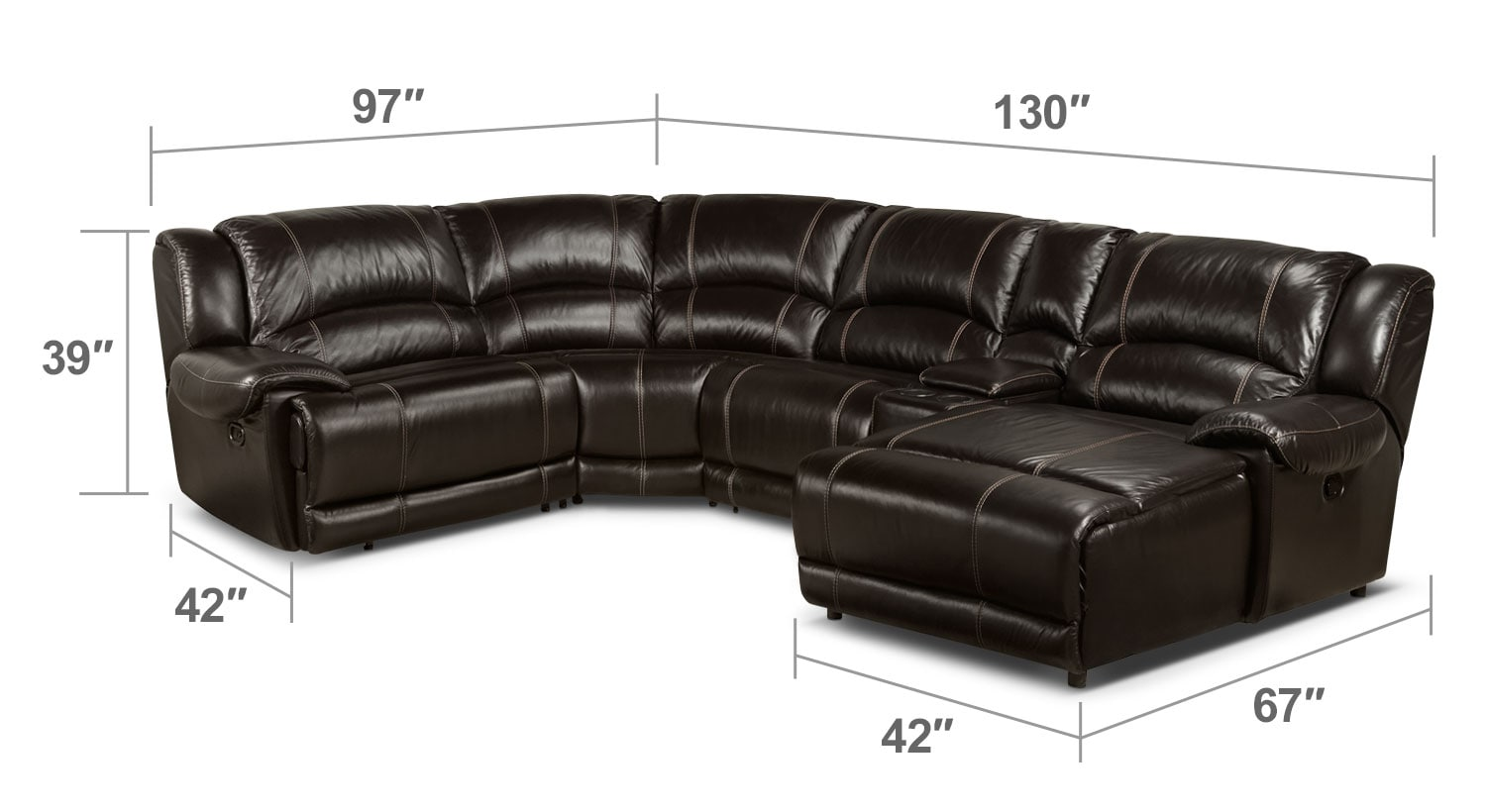 Living Room Furniture - Notredame 5-Piece Right-Facing Sectional