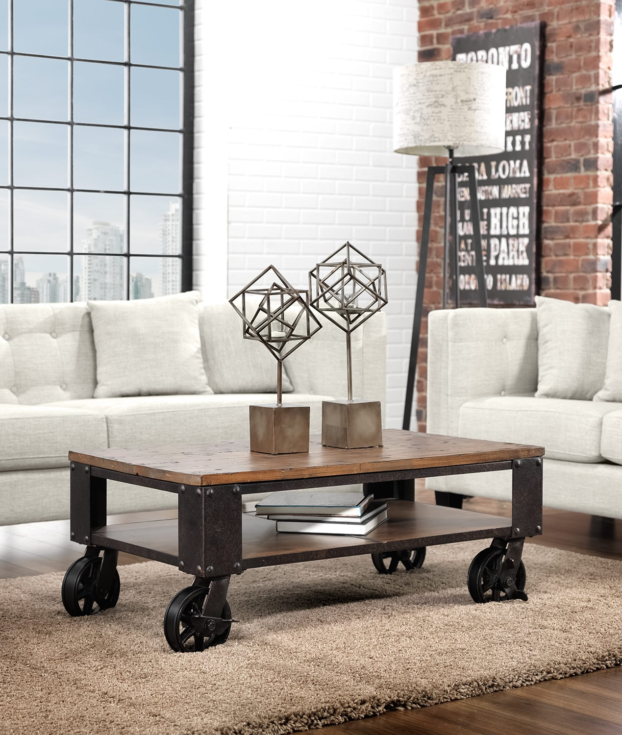 pinebrook condo coffee table - distressed natural pine | leon's