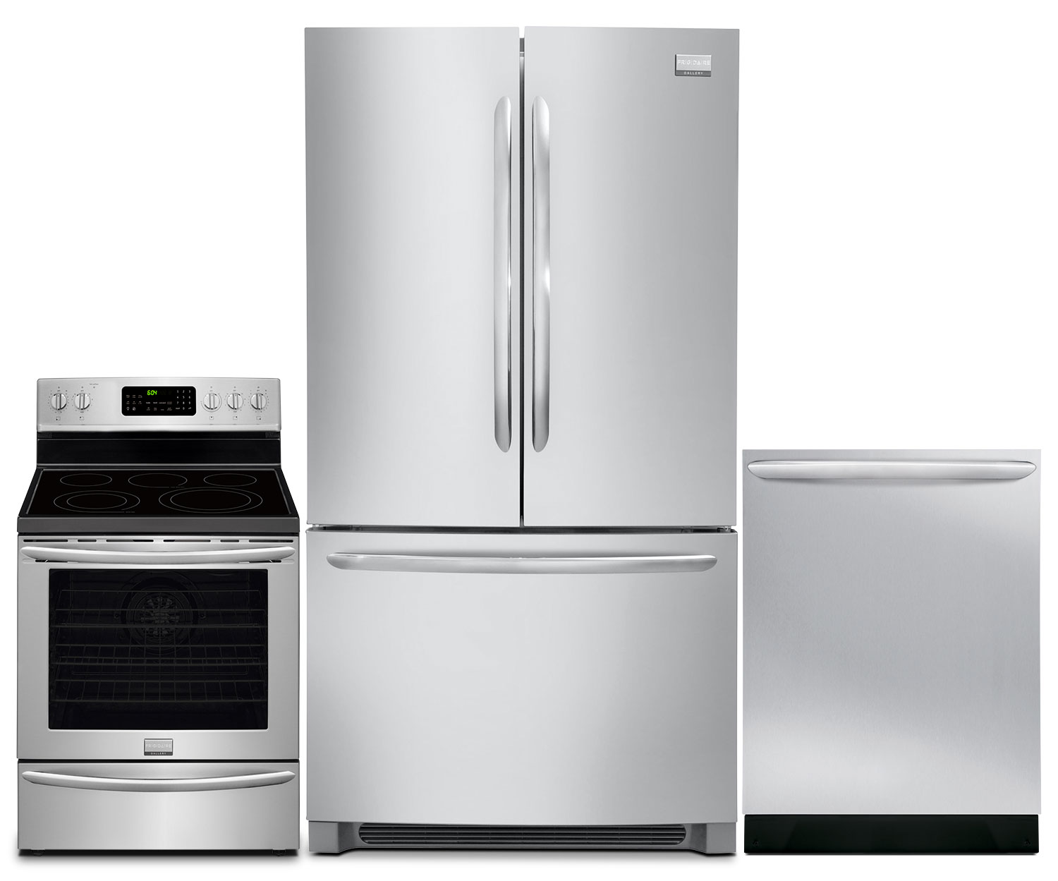 Cooking Products - Frigidaire Gallery 23 Cu. Ft. Refrigerator, 5.8 Cu. Ft. Range and Dishwasher – Stainless Steel