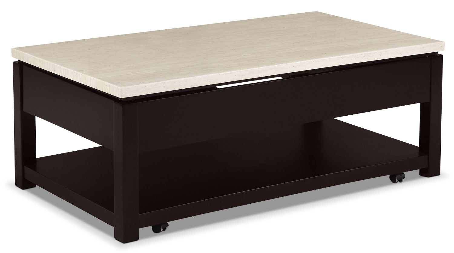 Sicily coffee table with lift top and casters beige the brick Coffee tables with casters