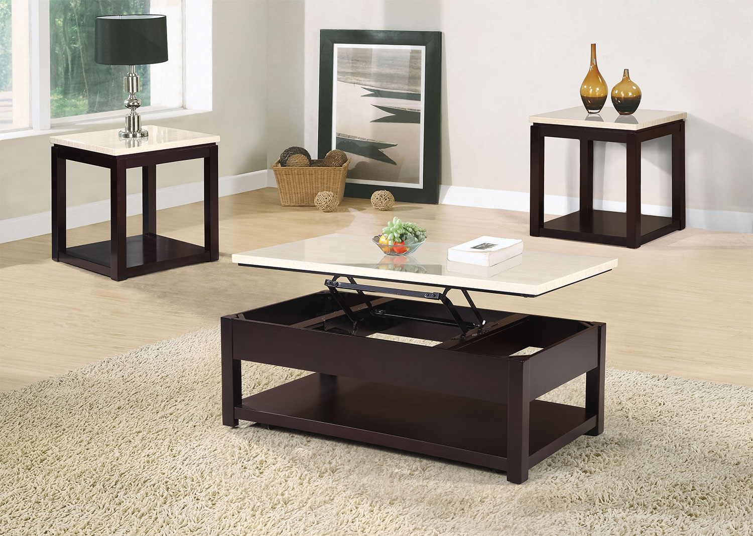 Sicily Coffee Table with LiftTop and Casters Beige The Brick