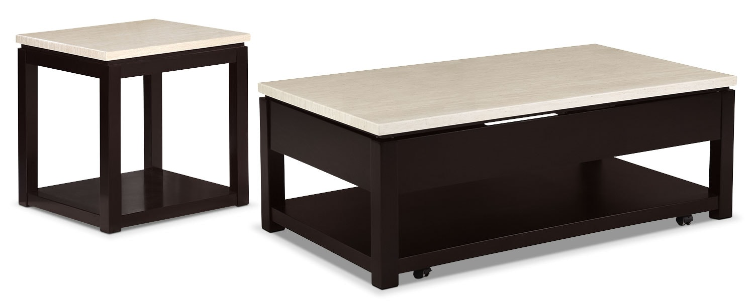 Accent and Occasional Furniture - Sicily 2-Piece Coffee and End Table Package – Black