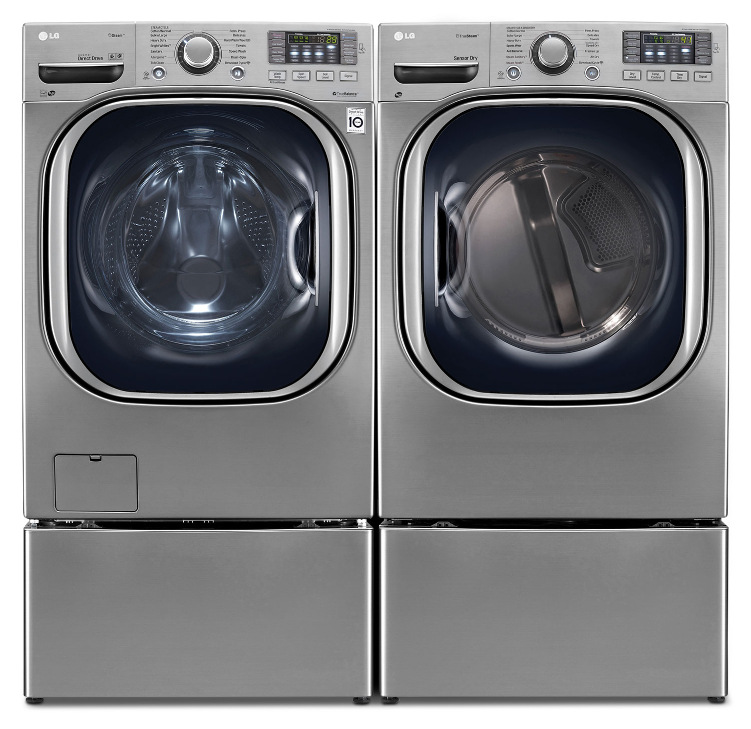 LG TWIN Wash™ 5.2 Cu. Ft. Washer, SideKick™ Pedestal Washer, 7.4 Cu. Ft. Dryer and Storage Pedestal