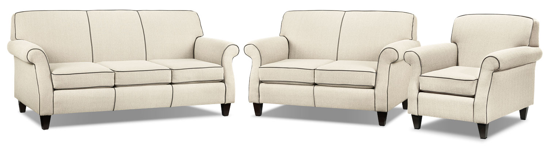 Aristo Sofa, Loveseat and Chair Set - Ivory