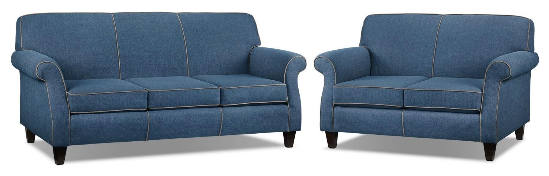 Aristo Sofa and Loveseat Set - Blue