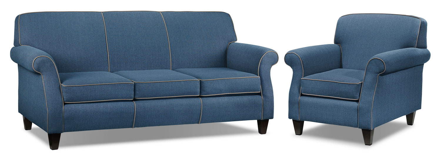 Aristo Sofa and Chair Set - Blue