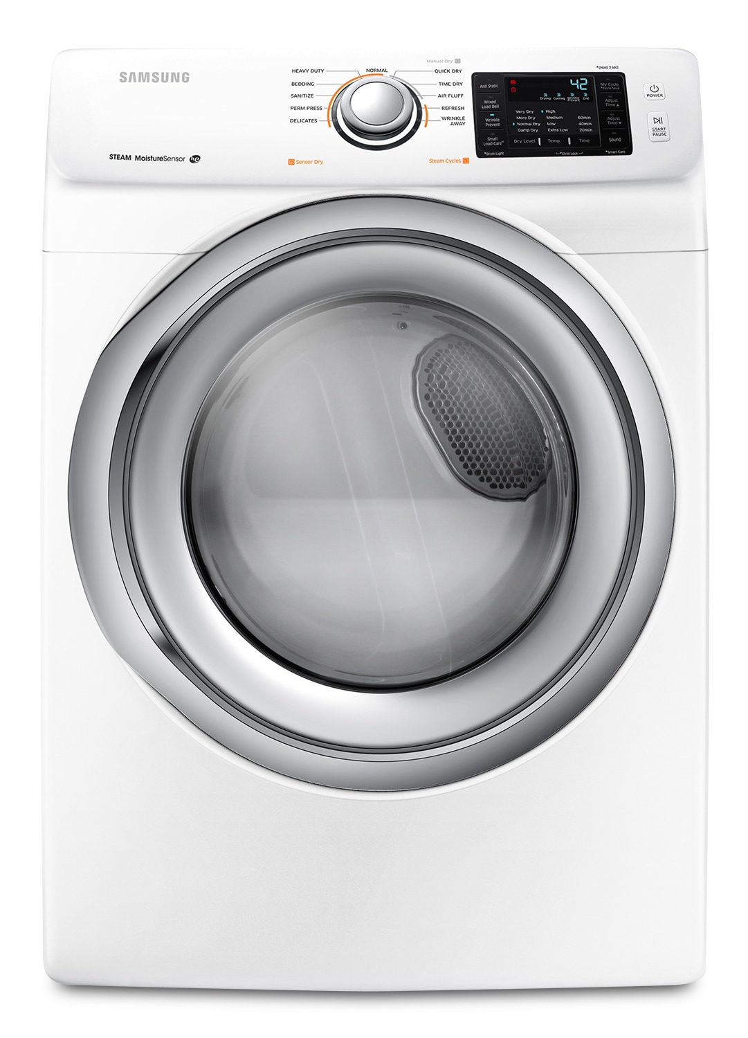 Washers and Dryers - Samsung White Front-Load Dryer - DV42H5200EW