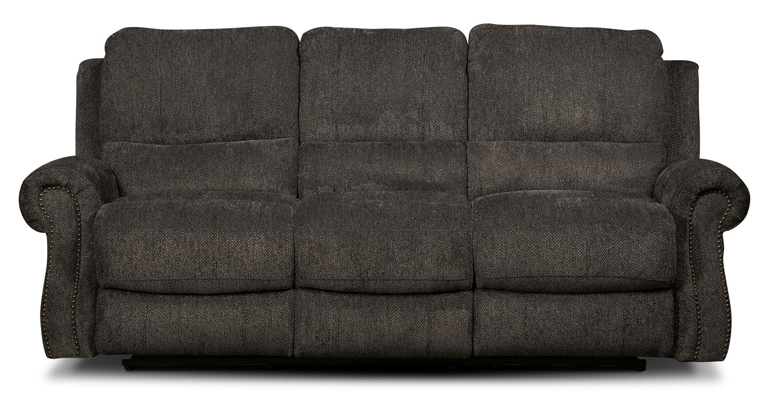 Living Room Furniture - Magnum Chenille Power Reclining Sofa – Charcoal