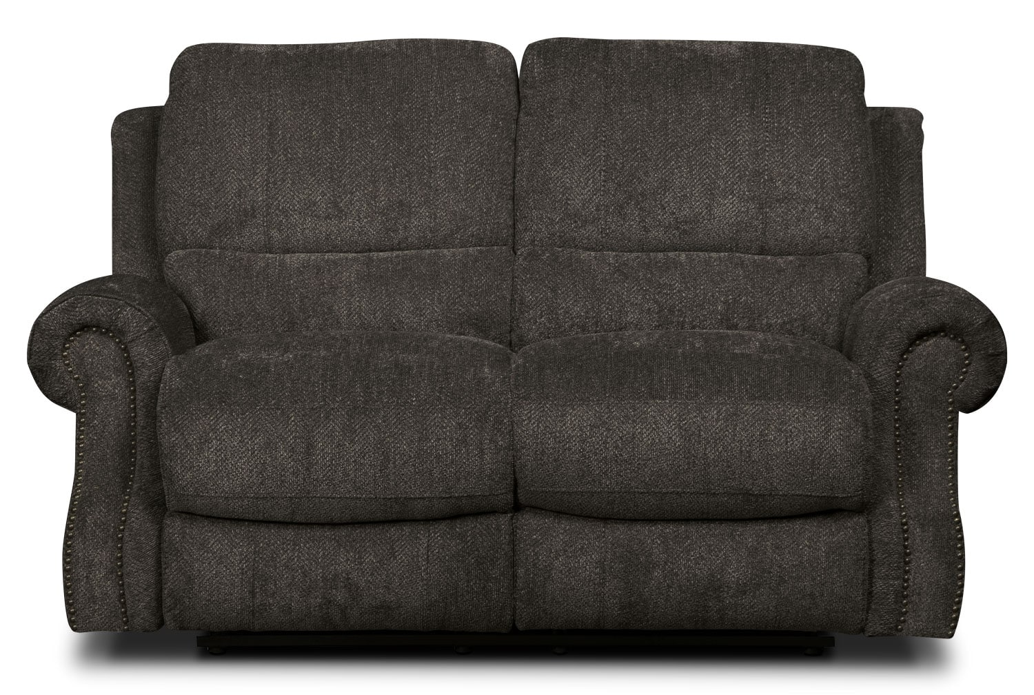 Living Room Furniture - Magnum Chenille Reclining Loveseat – Charcoal
