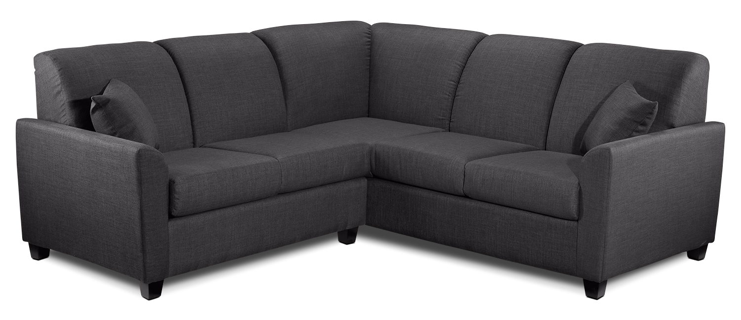 Living Room Furniture - Roxanne 2-Piece Sectional - Charcoal
