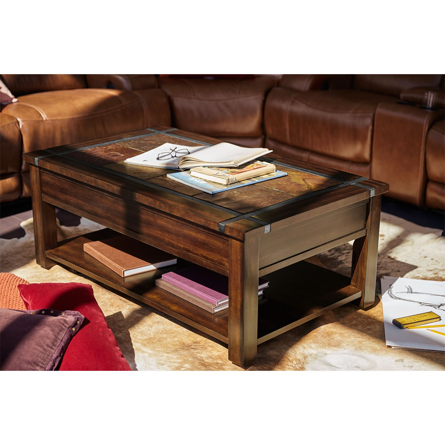 Slate Ridge Lift Top Cocktail Table Cherry Value City