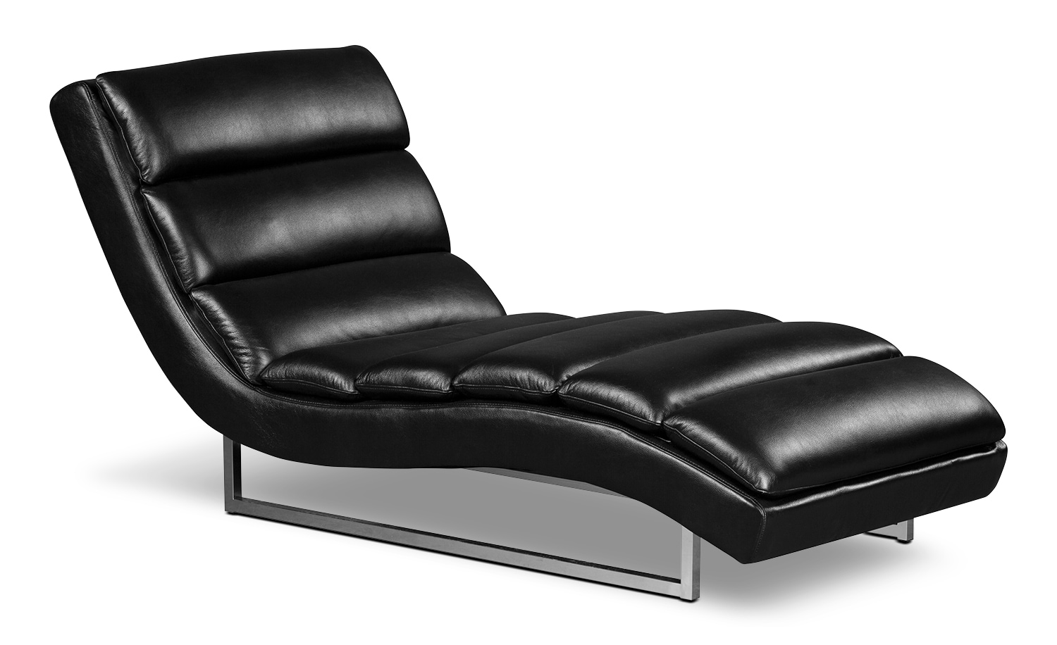 Maddy leather look fabric chaise black united for Black leather chaise