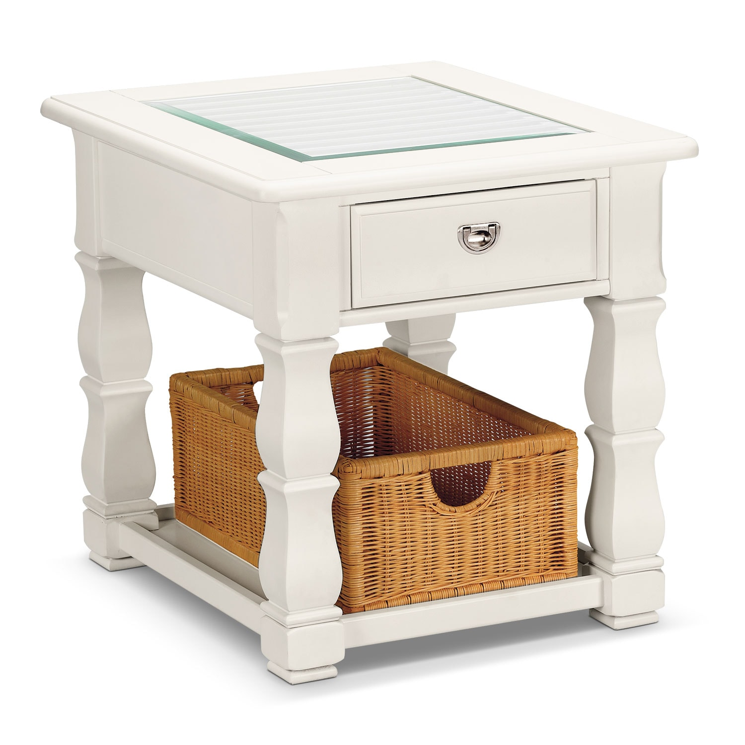 Plantation cove end table white value city furniture for White end table