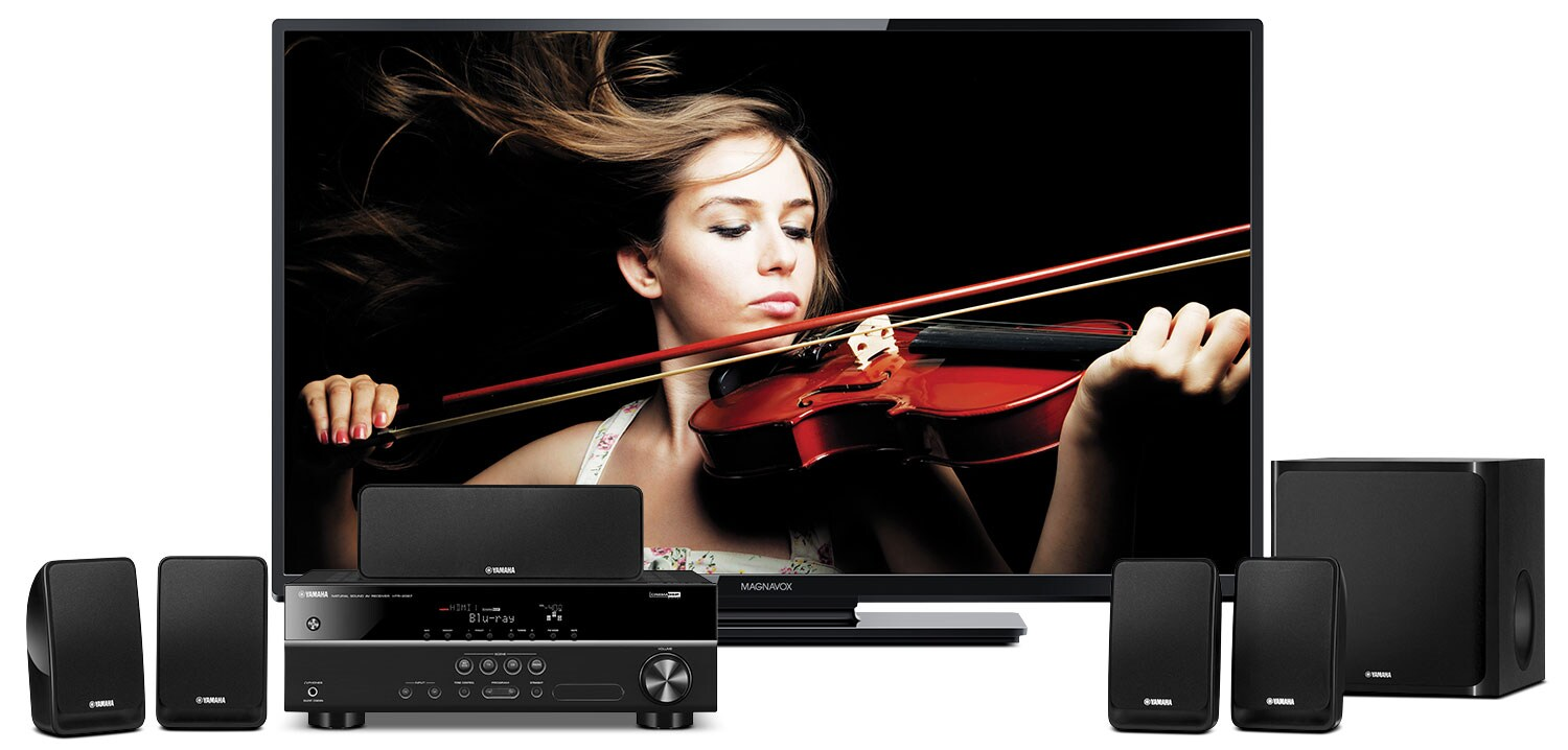"""Sound Systems - Magnavox 50"""" 1080p LED Smart TV with Yamaha 5.1-Channel Home Theatre System"""