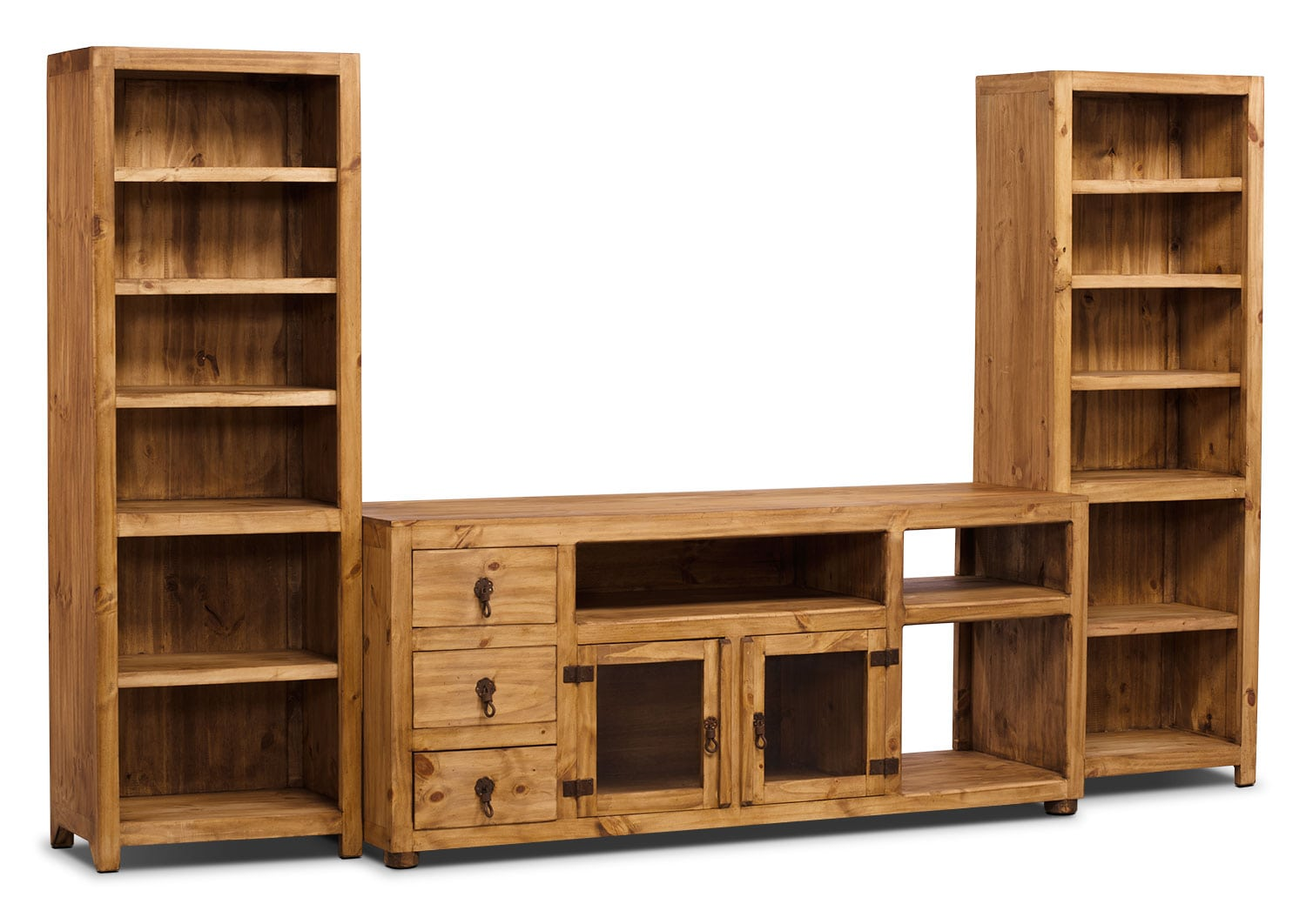 "Entertainment Furniture - Santa Fe Rusticos 3-Piece Solid Pine Entertainment Centre with 63"" TV Opening"