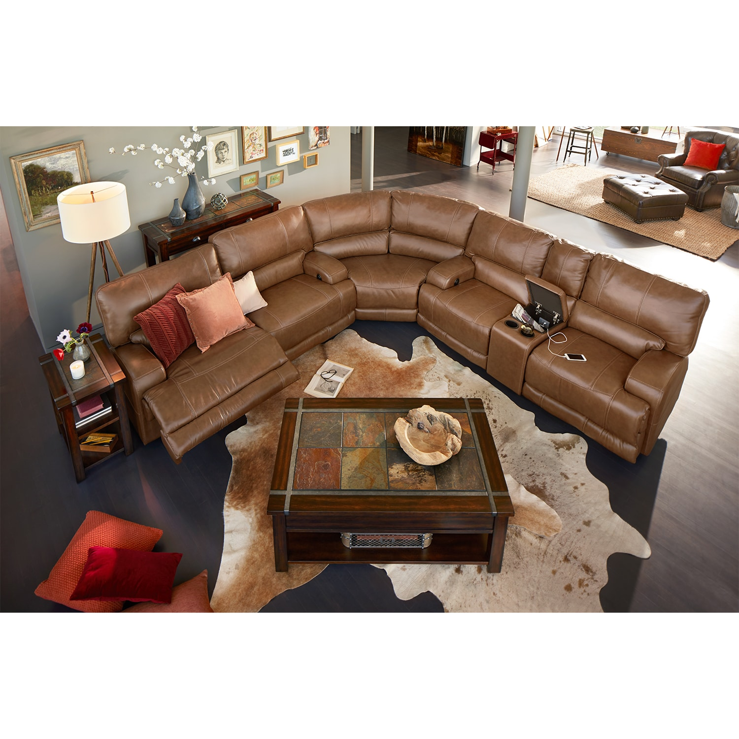 Barton 3 Piece Power Reclining Sectional With 1 Console