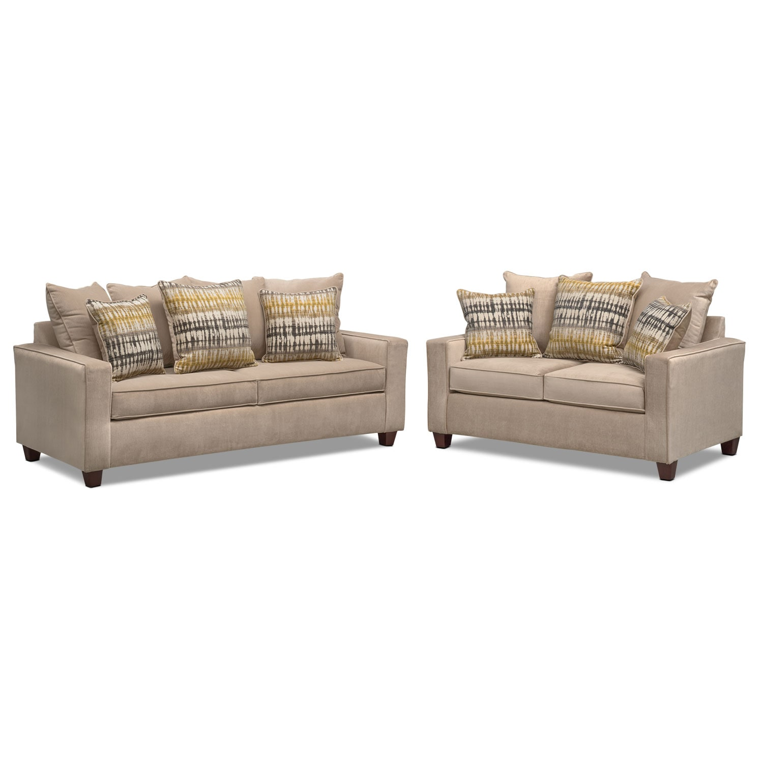 Bryden Sofa And Loveseat Set Beige Value City Furniture