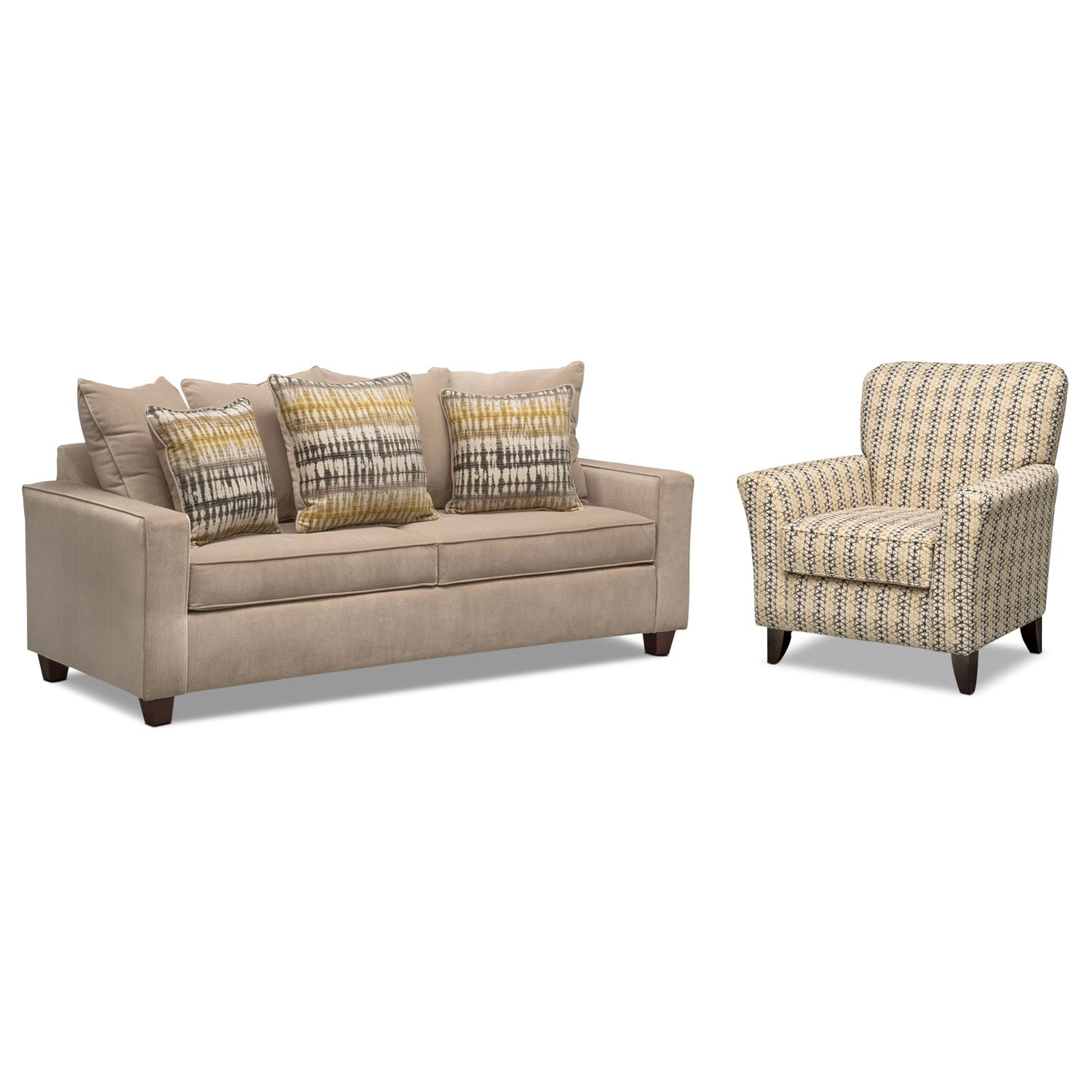 Bryden Queen Memory Foam Sleeper Sofa And Accent Chair Set