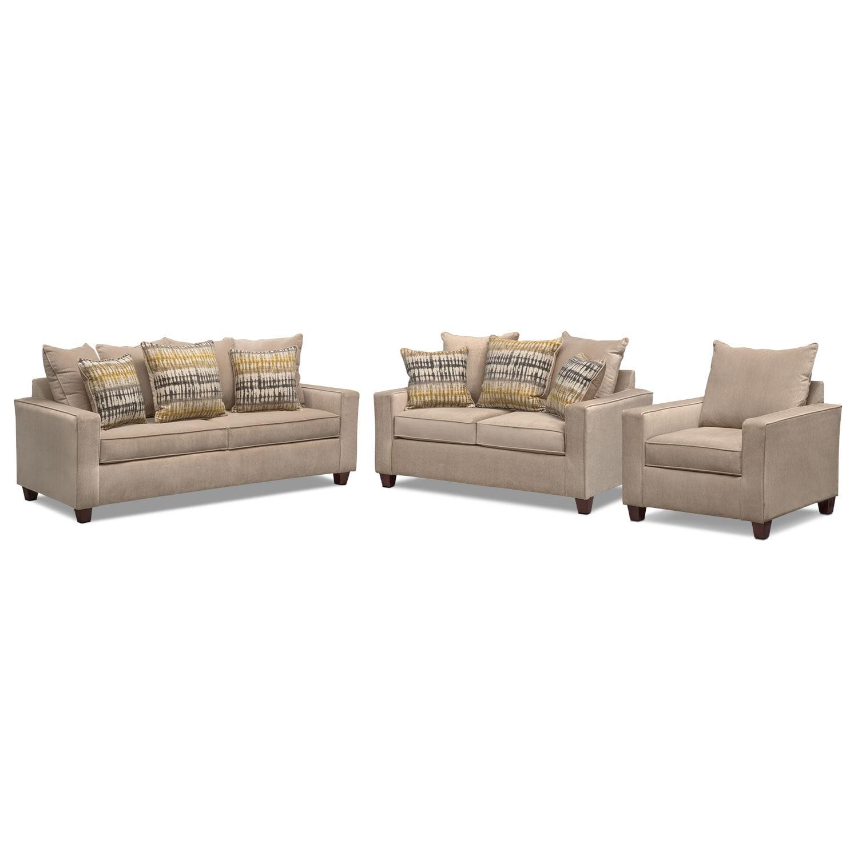 Bryden Queen Memory Foam Sleeper Sofa Loveseat And Chair
