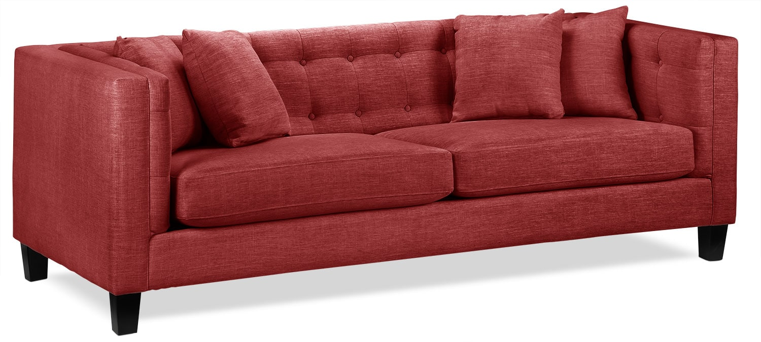Living Room Furniture - Astin Sofa - Red