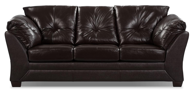 Living Room Furniture - Max Genuine Leather Sofa - Brown