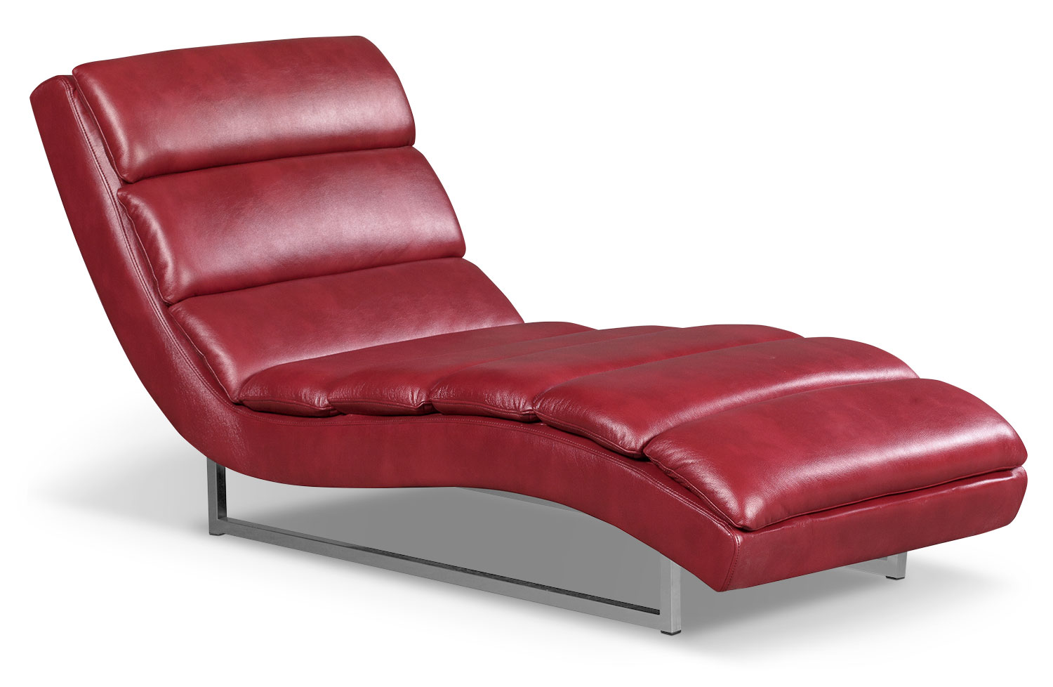 Maddy Leather-Look Fabric Chaise – Red