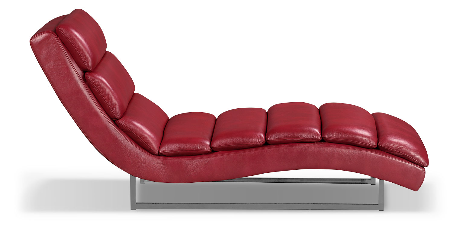maddy leatherlook fabric chaise – red  the brick - click to change image