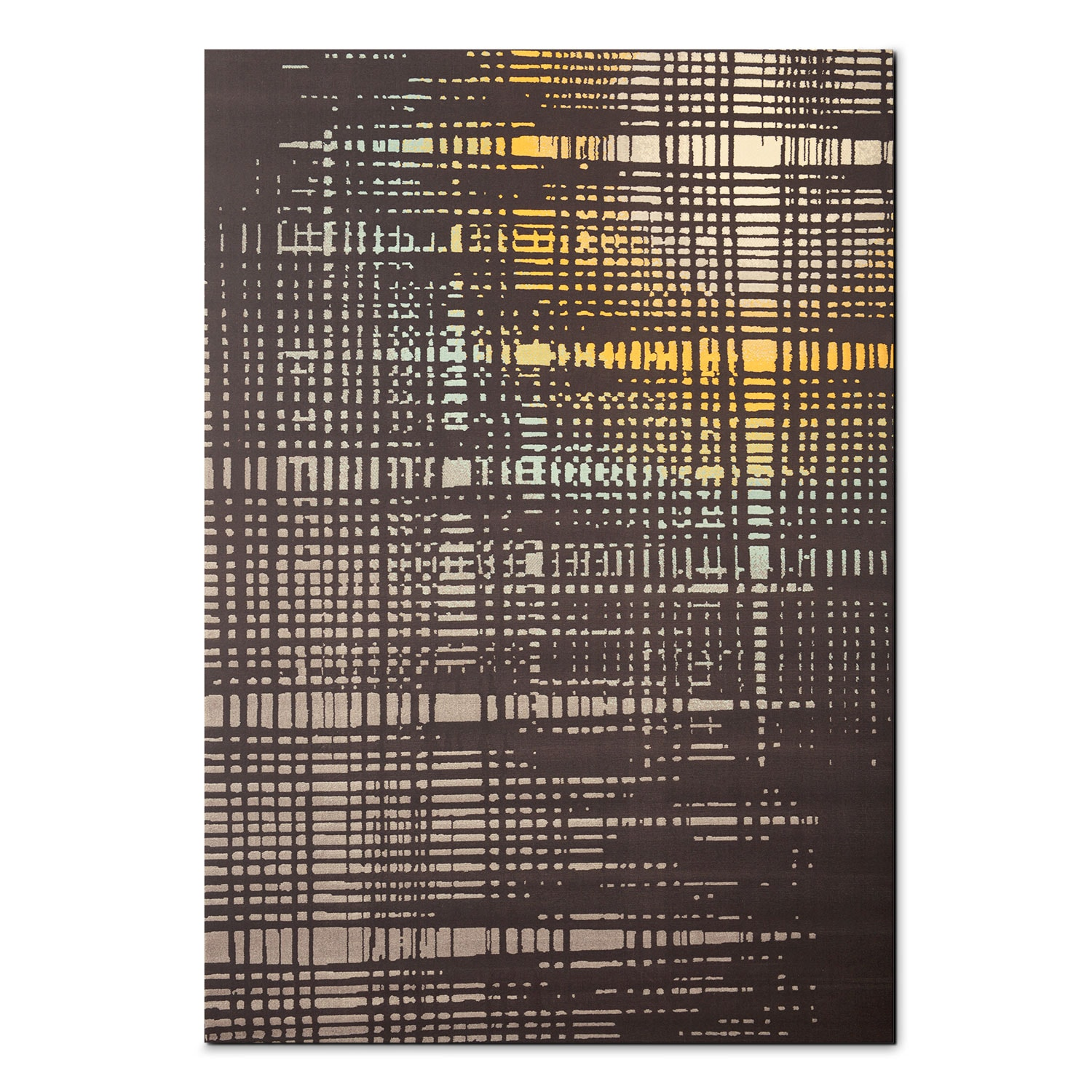 Broadway 8 X 10 Area Rug Yellow Teal And Charcoal