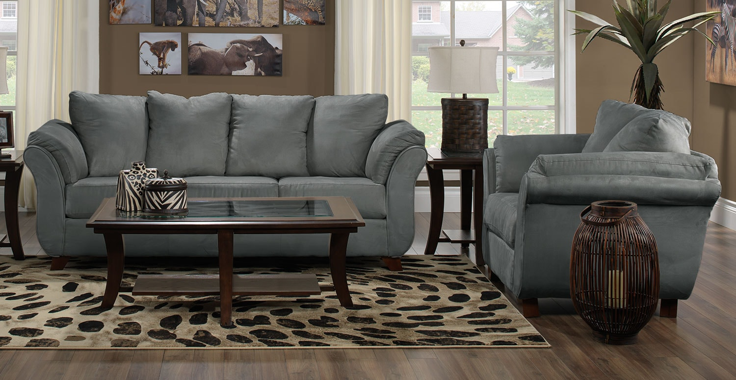 Collier Sofa and Chair Set - Dark Grey