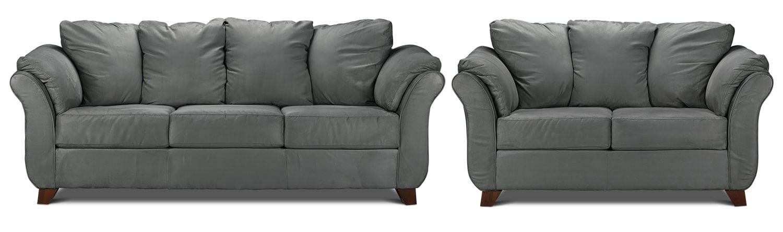 Collier Sofa and Loveseat Set - Dark Grey