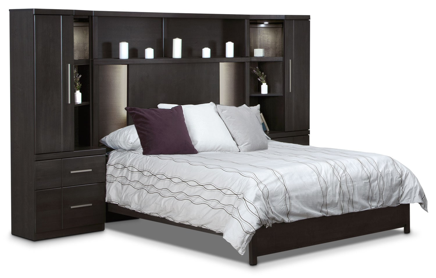 Seville 6-Piece Queen Wallbed - Charcoal