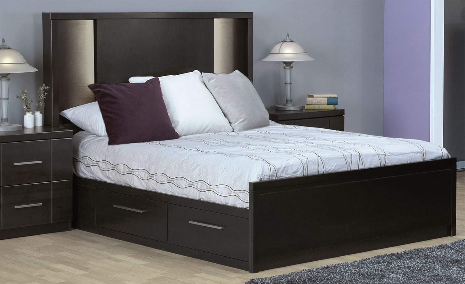 Seville queen storage bed charcoal leon 39 s for Bed set queen furniture