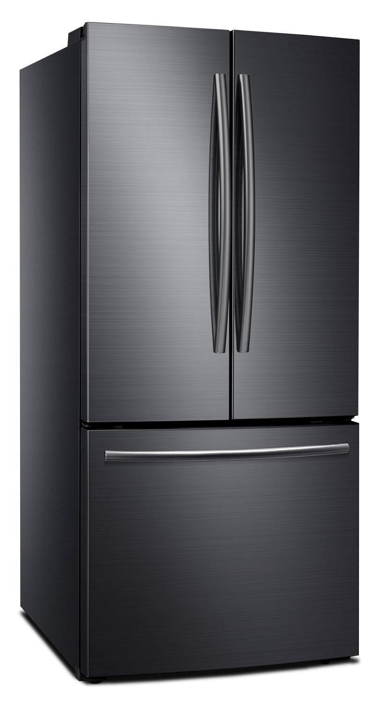 samsung 22 cu ft french door refrigerator black stainless steel rf220nctasg the brick. Black Bedroom Furniture Sets. Home Design Ideas