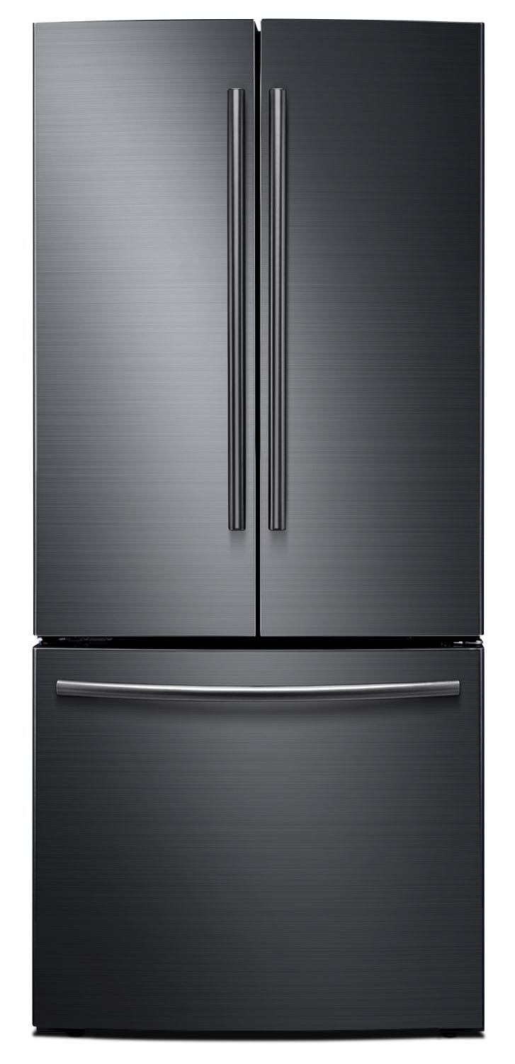 Refrigerators and Freezers - Samsung 22 Cu. Ft. French-Door Refrigerator – Black Stainless Steel RF220NCTASG