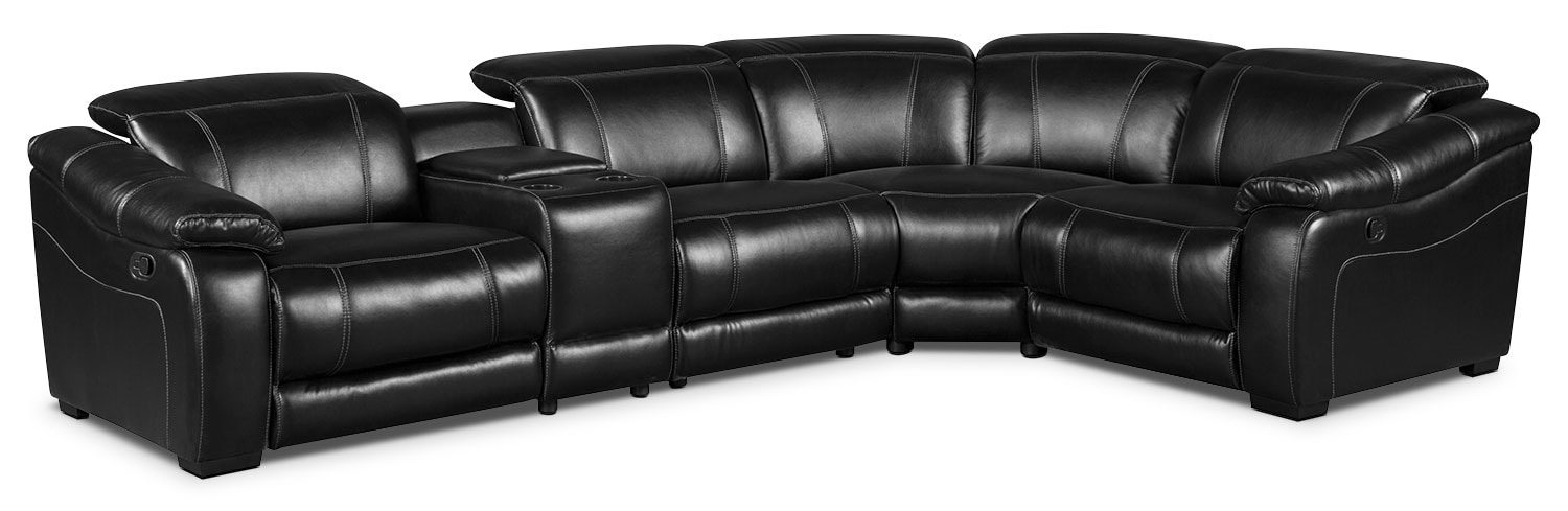 Living Room Furniture - Bruno 5-Piece Leather-Look Fabric Reclining Sectional – Black