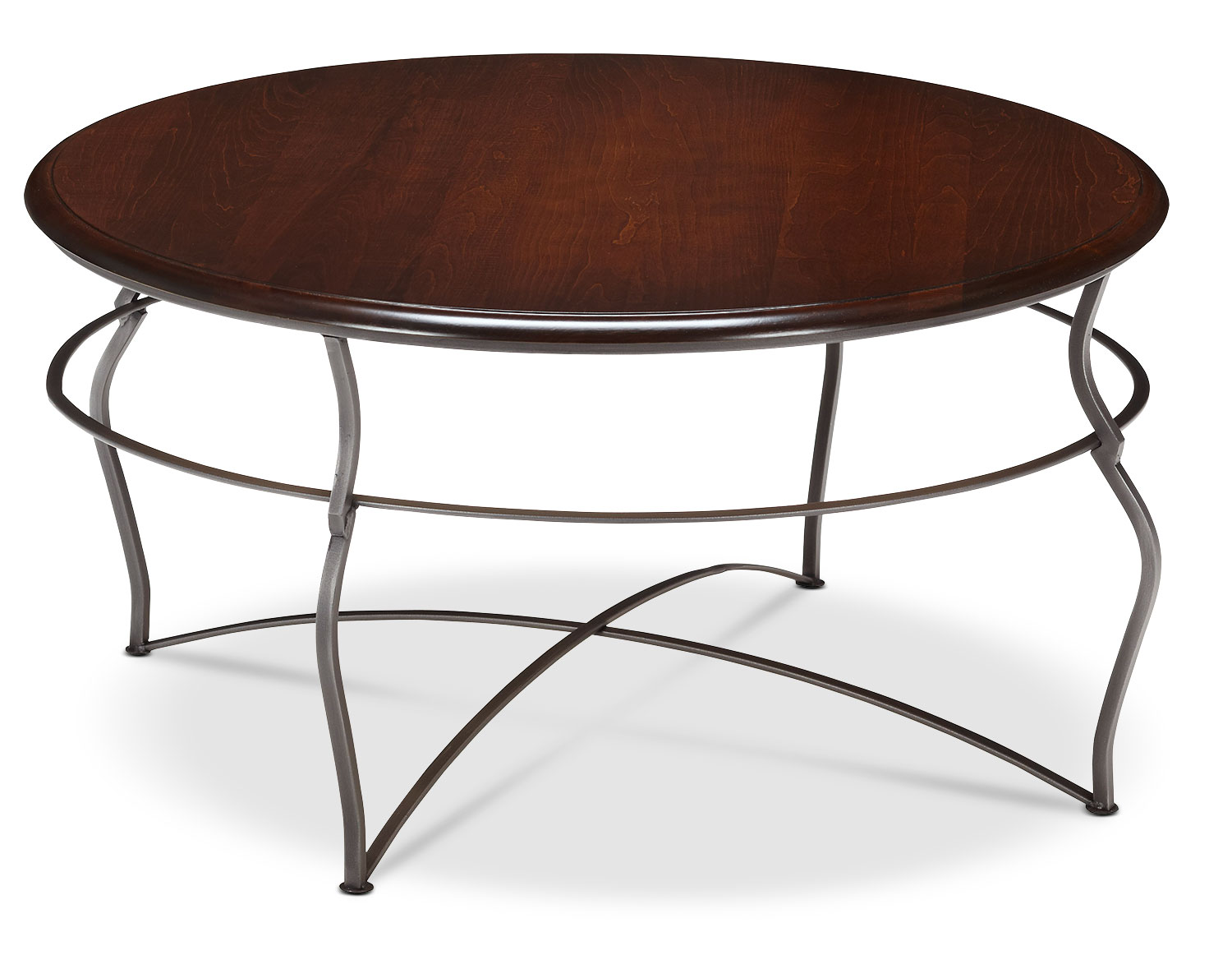 Online Only - Adele Coffee Table - Brown Cherry with Pewter Base