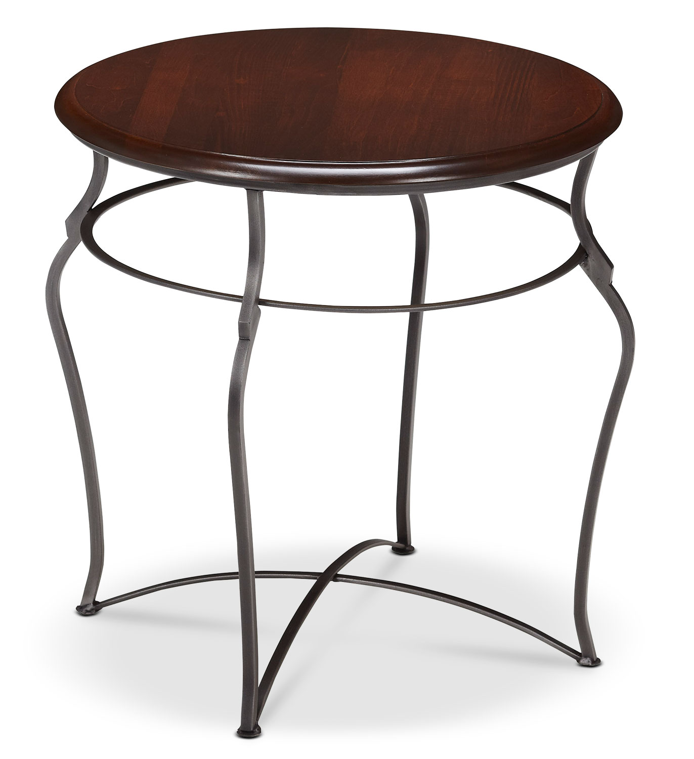 Online Only - Adele End Table - Brown Cherry with Pewter Base