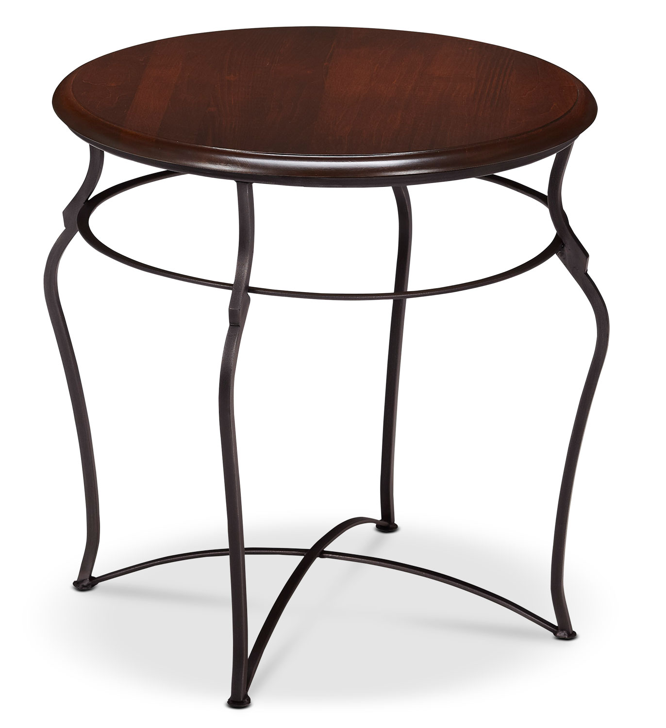 Accent and Occasional Furniture - Adele End Table - Brown Cherry with Black Base