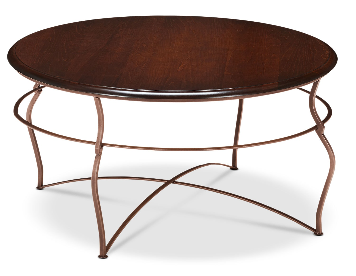 Accent and Occasional Furniture - Online Only - Adele Coffee Table - Brown Cherry with Copper Base