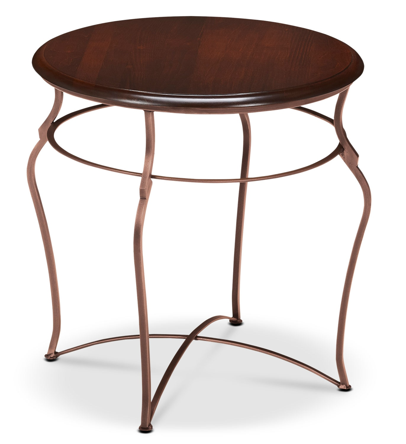 Online Only - Adele End Table - Brown Cherry with Copper Base